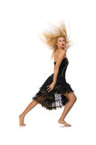 The blond hair girl in black evening dress Stock Photography