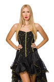 The blond hair girl in black evening dress Royalty Free Stock Photos