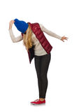 Blond hair girl in bordo vest isolated on white Royalty Free Stock Images
