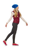 Blond hair girl in bordo vest isolated on white Royalty Free Stock Photos