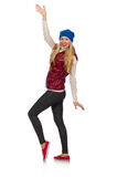 Blond hair girl in bordo vest isolated on white Royalty Free Stock Photography