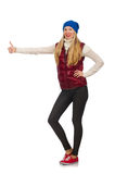 Blond hair girl in bordo vest isolated on white Royalty Free Stock Image