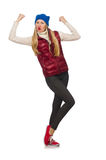 Blond hair girl in bordo vest isolated on white. The blond hair girl in bordo vest isolated on white Stock Photography