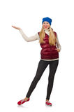 Blond hair girl in bordo vest isolated on white Royalty Free Stock Photo