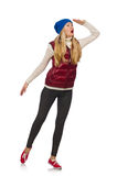 Blond hair girl in bordo vest isolated on white. The blond hair girl in bordo vest isolated on white Royalty Free Stock Photo