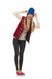Blond hair girl in bordo vest isolated on white. The blond hair girl in bordo vest isolated on white Royalty Free Stock Image