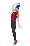 The blond hair girl in bordo vest isolated on. Blond hair girl in bordo vest isolated on white Royalty Free Stock Photo