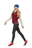 The blond hair girl in bordo vest isolated on. Blond hair girl in bordo vest isolated on white Royalty Free Stock Photos