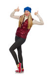 The blond hair girl in bordo vest isolated on Royalty Free Stock Image
