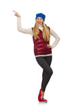 The blond hair girl in bordo vest isolated on. Blond hair girl in bordo vest isolated on white Stock Image