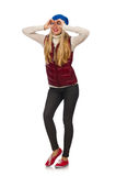 Blond hair girl in bordo vest isolted on white. The blond hair girl in bordo vest isolated on white Royalty Free Stock Images