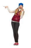 Blond hair girl in bordo vest on white Royalty Free Stock Photography