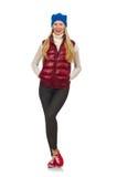 Blond hair girl in bordo vest on white Royalty Free Stock Images