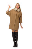 Blond hair girl in coat isolated on white Royalty Free Stock Images