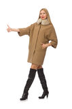 Blond hair girl in coat isolated on white Royalty Free Stock Image