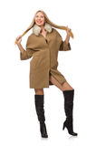 Blond hair girl in coat isolated on white Stock Photo