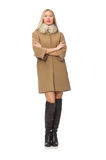 Blond hair girl in coat isolated on white Royalty Free Stock Photos