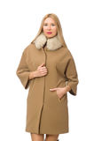 Blond hair girl in coat isolated on white Stock Image
