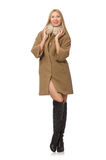 The blond hair girl in coat isolated on white Stock Photography