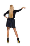 Blond hair girl in dark blue skirt isolated on stock image