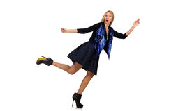 Blond hair girl in dark blue skirt isolated on Royalty Free Stock Image