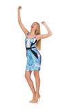 Blond hair girl in mini blue dress isolated on Stock Photos