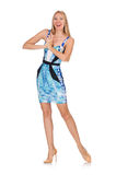 Blond hair girl in mini blue dress isolated on Royalty Free Stock Images