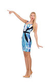 Blond hair girl in mini blue dress isolated on Stock Photography