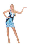 Blond hair girl in mini blue dress isolated on Stock Photos