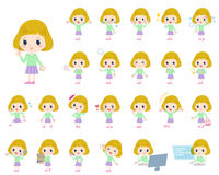 Blond hair girl. Set of various poses of blond hair girl Royalty Free Stock Photography