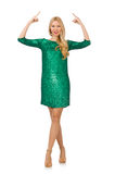 Blond hair girl in sparkling green dress isolated Royalty Free Stock Images