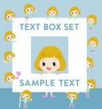 Blond hair girl text box. Set of various poses of blond hair girl text box Stock Image