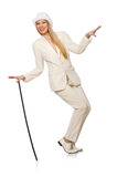 Blond hair girl with walking stick isolated on Stock Photo