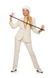 Blond hair girl with walking stick isolated on Royalty Free Stock Photo