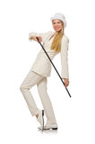 Blond hair girl with walking stick isolated on Stock Photography