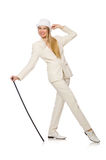 Blond hair girl with walking stick isolated on Stock Image