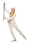 Blond hair girl with walking stick isolated on Royalty Free Stock Image