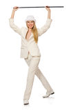 Blond hair girl with walking stick isolated on Royalty Free Stock Photos