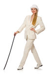 The blond hair girl with walking stick isolated on Stock Images