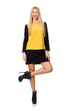 Blond hair girl in yellow and black clothing Royalty Free Stock Image