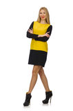 Blond hair girl in yellow and black clothing Stock Photos