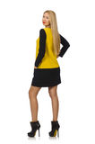 Blond hair girl in yellow and black clothing. The blond hair girl in yellow and black clothing isolated on white stock photos