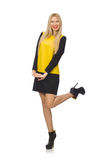 Blond hair girl in yellow and black clothing Stock Photo
