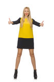Blond hair girl in yellow and black clothing Stock Images