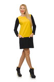 Blond hair girl in yellow and black clothing Royalty Free Stock Photo