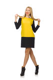 The blond hair girl in yellow and black clothing Royalty Free Stock Images