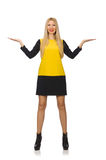 The blond hair girl in yellow and black clothing Royalty Free Stock Photography