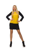 The blond hair girl in yellow and black clothing Stock Photos
