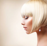 Blond Hair. Haircut. Haircut. Beautiful Girl with Healthy Short Hair stock images