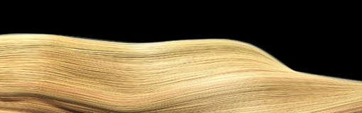 Blond Hair isolated over black background Shiny Healthy colored stock photography
